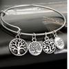 Silver Charm Bangle with Tree of Life Charm