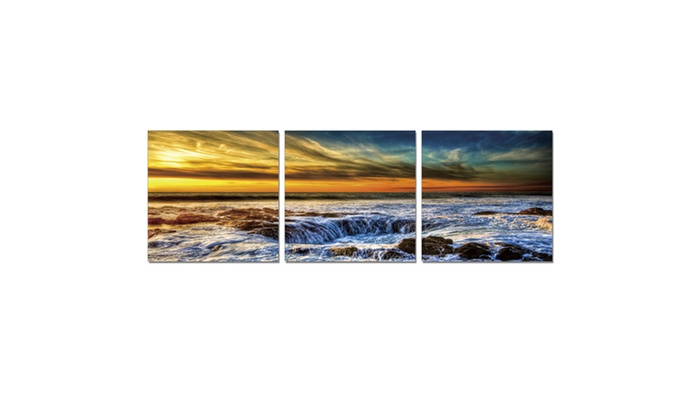 Furinno Senic Sky And Beach 3 Panel Canvas On Wood Frame 60 X 20 In