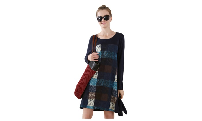 Women's Pullover Printed Long Sleeve Cotton Knit Dress