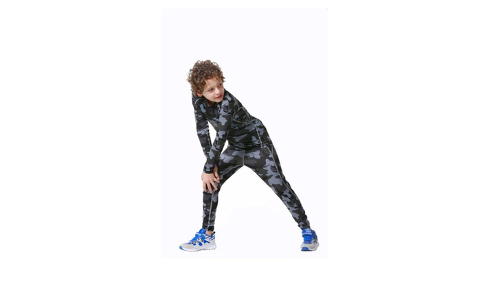 Children Long Sleeve Camouflage Tights Suits