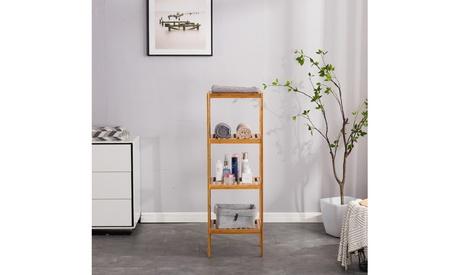 Bamboo Bathroom Shelf 4-Tier Multifunctional Storage Rack Shelving