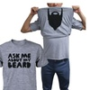 Ask Me About My Beard Flip Up T-shirts Halloween Graphic Unisex Tee