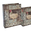 Cheungs Set of 3 Wooden Magazine Storage Farmhouse Rooster Book Box