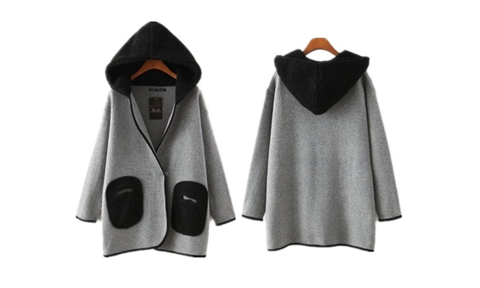 WealFeel Contrast Pockets and Hood Coat in Knit – Gray / One Size