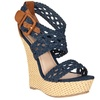 Riverberry Women's 'Pompey' Crochet Strap Platform Wedge Sandals, Blue