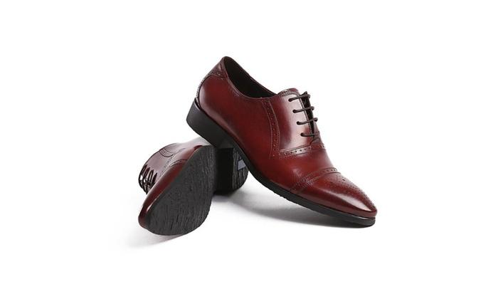 Shefetch Men's Lace Up Leather Dress Shoe