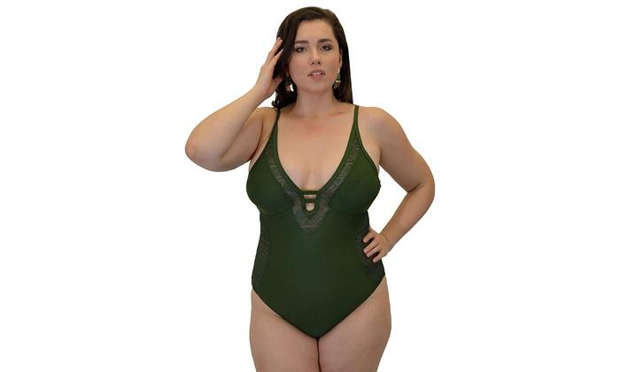 d45a132b4c Plus Size Womens Swimsuit Fashion 1 Peice Bathing Suit Tank Olive Crochet 2X