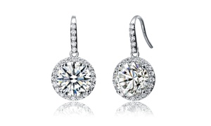 CZ Sterling Silver Round Drop...