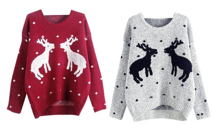 Womens Winter Crew Neck Reindeer Cropped Sweater
