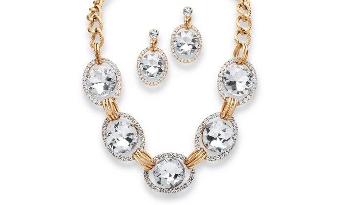 Crystal Curb Link Jewelry Set In Yellow Gold Tone Groupon