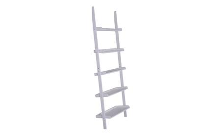 White 5-Tier Bookshelf Leaning Wall Shelf Ladder Bookcase Storage 01ced8e1-426d-4970-8759-286758b26caf