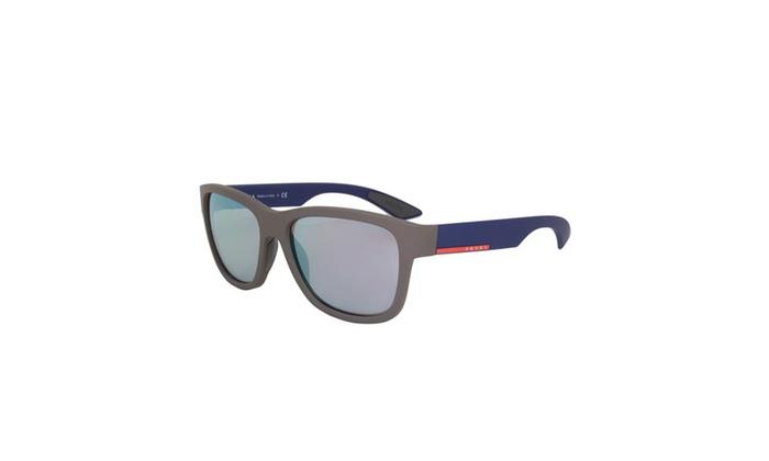 Men's Wayfarer Sunglasses PS03QS UR62E2 57 - Grey Frame - Grey Mirrored Lenses
