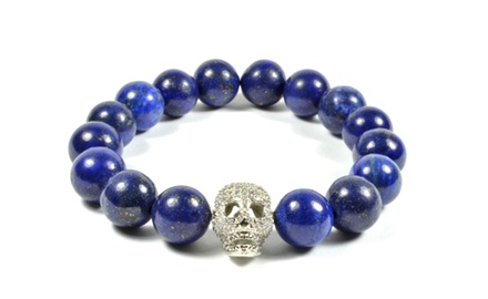 12mm Lapis Lazuli Stone and Cubic Zirconia Gold Filled Skull