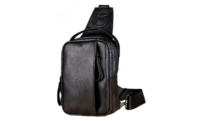 Mens PU Leather Leisure Motorcycle Chest Pack