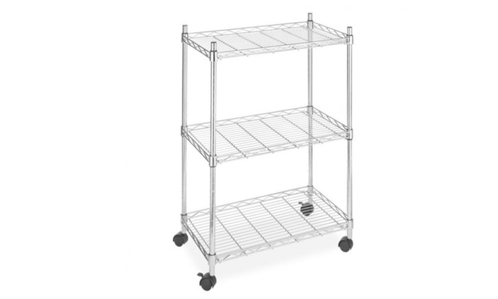 Wire Shelving On Wheels | Wire Shelving Cart Unit 3 Shelves W Casters Shelf Rack Wheels Chrome