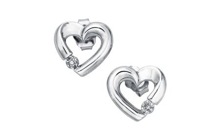 Diamond Accent Heart Earring Studs in 10k Gold