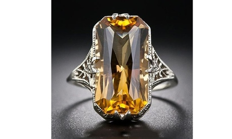 Women's 925 Sterling Silver Gemstones Birthstone Bride Princess Wedding Ring