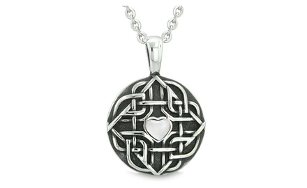 Amulet Celtic Shield Knot Magic Heart and Protection Powers Pendant Necklace