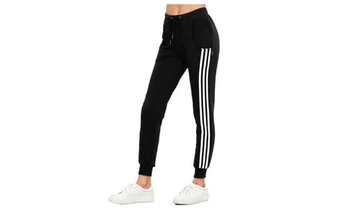 e603a44b4b Women's Track Pants Drawstring Waist Striped Side Jogger Sweatpants |  Groupon