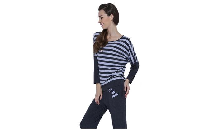 Women's Round Neck Stripe Long Sleeve 2 Piece Pajamas Set