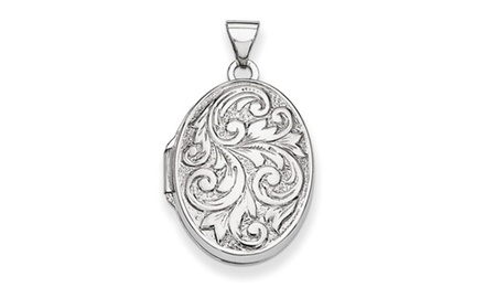 IceCarats Designer Jewelry 14k White Gold Polished Reversible Love You Always Oval Locket
