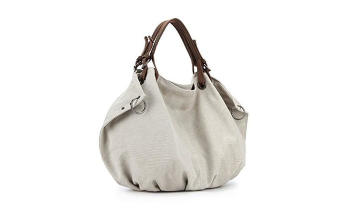 Samic® Women Casual Large Canvas Leather Shoulder Tote Bag Girls Hobo Handbag - Pink / Large