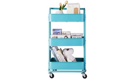 3-Tier Rolling Utility Cart Storage Shelves Multifunction Storage Trolley Cart