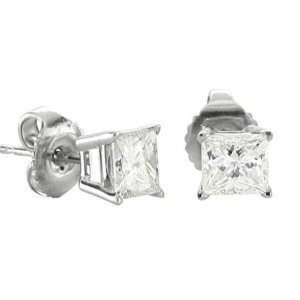 75e808354 14k White Gold Princess Cut Diamond Stud Earrings (0.2 carat) | Groupon