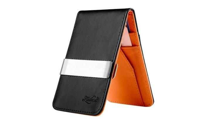 Zodaca Black,Orange Mens Faux Genuine Leather Silver Money Clip Wallet