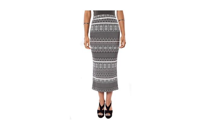 Black White Abstract Striped High Waist Midi Fitted Skirt U.S.A