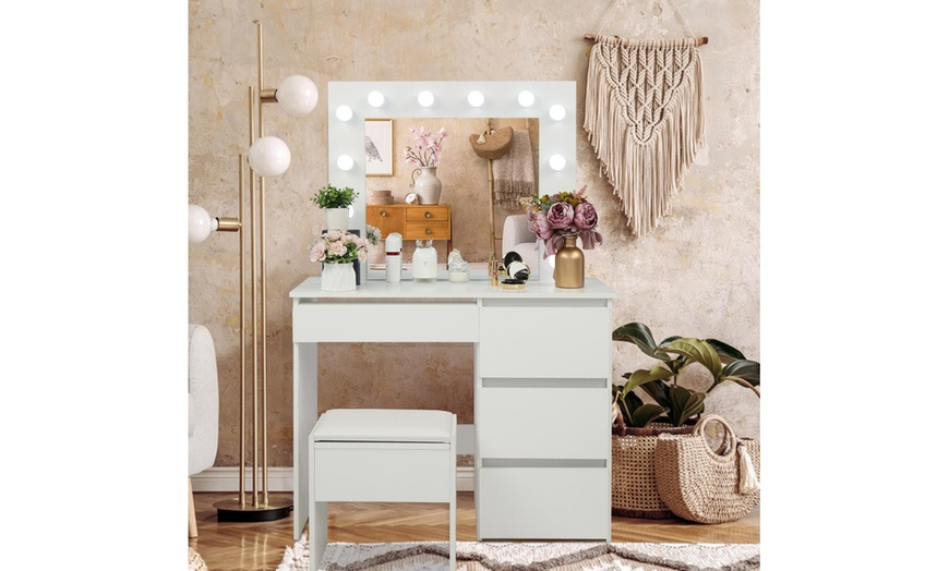 Vanity Table Set With Lighted, Vanity Table Set With Lighted Mirror Stool