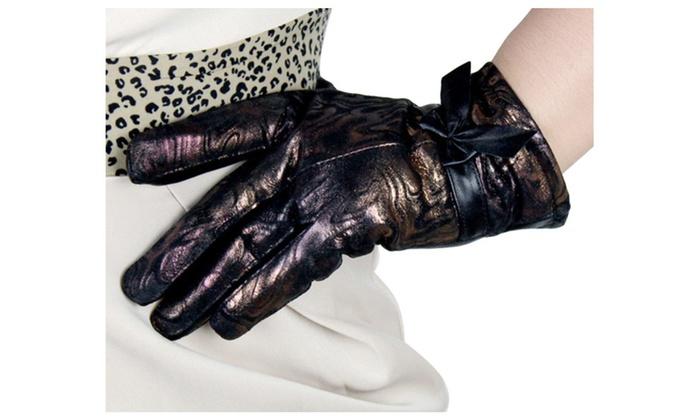 DPN Women's Vogue Bowknot Windproof Full Finger Leather Gloves