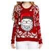 Girl Christmas Cute Santa Embroidered Knitted Pullover Sweater Jumper