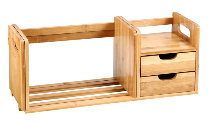 Ollieroo Bamboo Tabletop Book Rack Bookshelf Desk Organizer