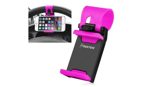 Insten Universal Car Steering Wheel Phone Mount Holder Black/Hot Pink