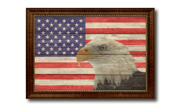 American Eagle Patriotic Flag Framed Souvenir Home Decor Gift 19 X 27 Inches