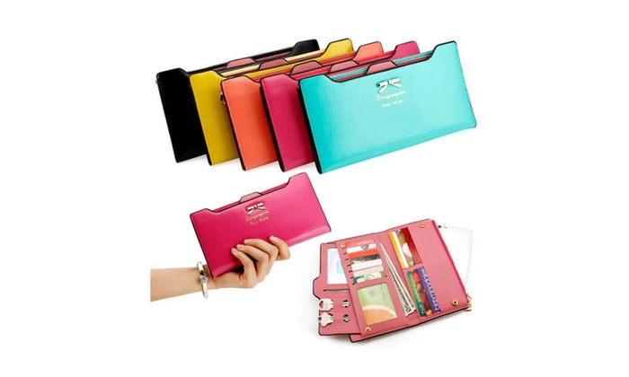 Women Handbag PU Leather Bowknot Clutch Wallet Long Card Holder Purse
