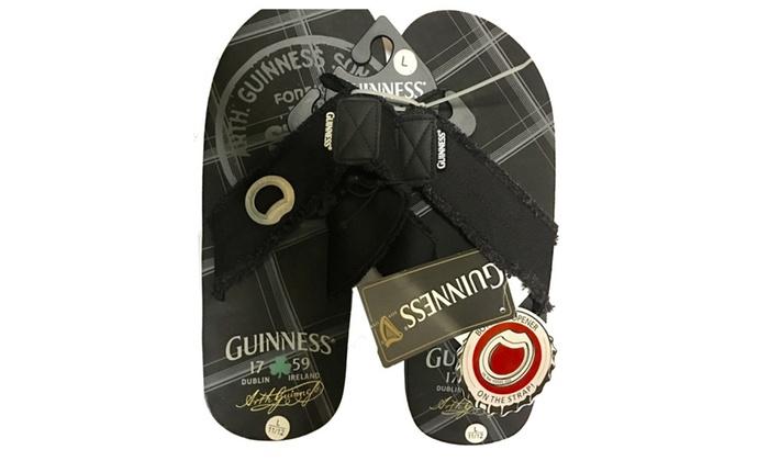 62f4d1983bdc Guinness Mens Flip Flop Sandals with Bottle Opener on Strap Slippers ...