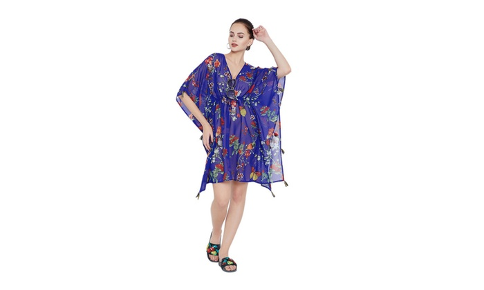 0179a16ae5 Royal Blue Tassel Tie-Up Women Beach Dresses Swimsuit Bikini Cover Ups |  Groupon