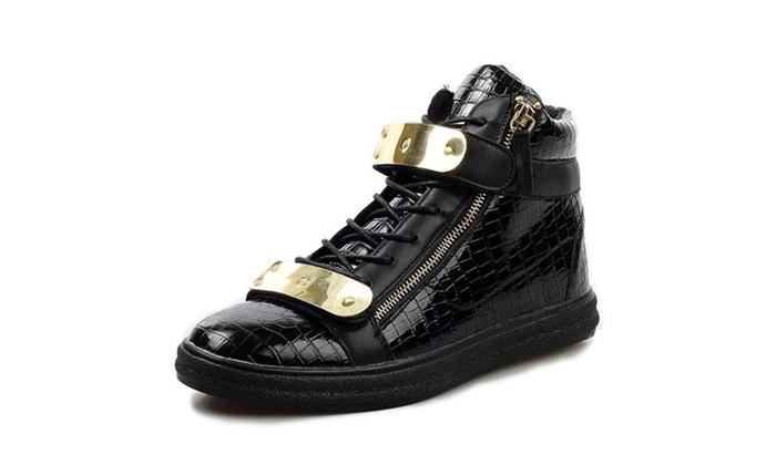 Men's High Top Sneakers Sheet Metal Zipper Shoes