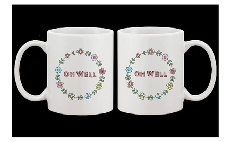 Cute Ceramic Coffee Mug Oh Well Flower Wreath Mug 11oz Coffee Mug Cup 122120bf-badb-462c-a236-7b53db2b07b1