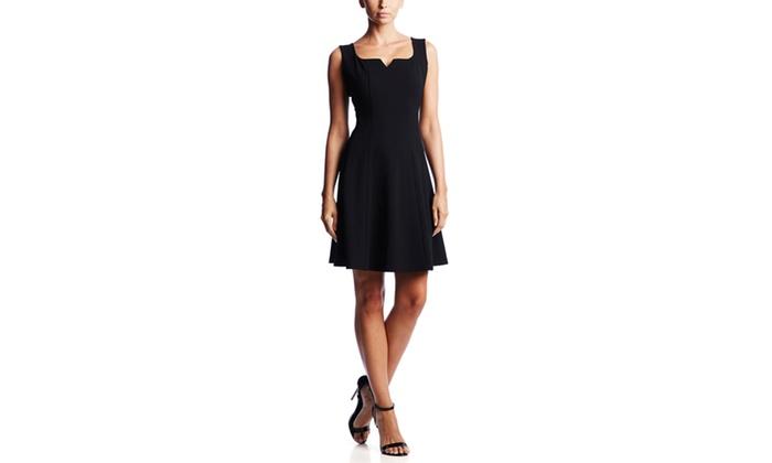 ronni nicole scuba stretch crepe fit and flare dress