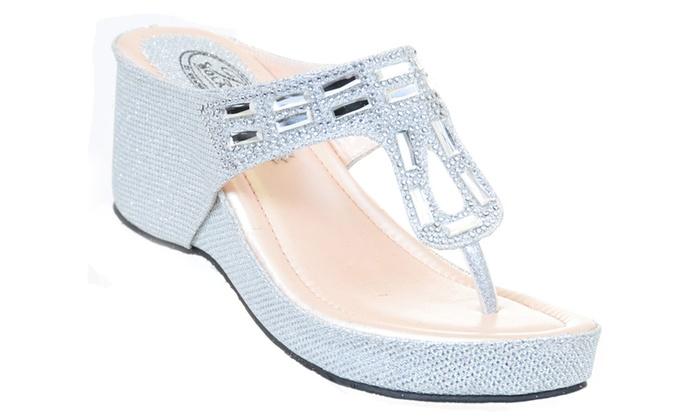 04685eaa4 Crystal Bling Mesh Vegan Suede Wedge Flip Flop Sandal Silver