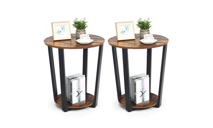 Costway Industrial End Table Metal Frame w/ Shelf