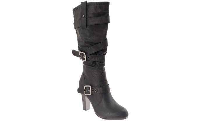 Riverberry Women's 'Chrissy' High Seel Slouchy Fashion Boots, Black