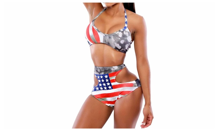 Women's American Flag Pattern Swimsuit