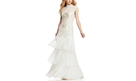 SUE WONG Beaded Mock Neck Illusion Gown