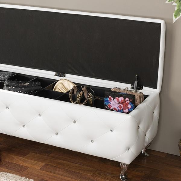 Baxton Studio Stella Crystal Tufted Modern Storage Bench