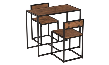 Industrial 3-Piece Dining Table and 2 Chair Set for Small Space
