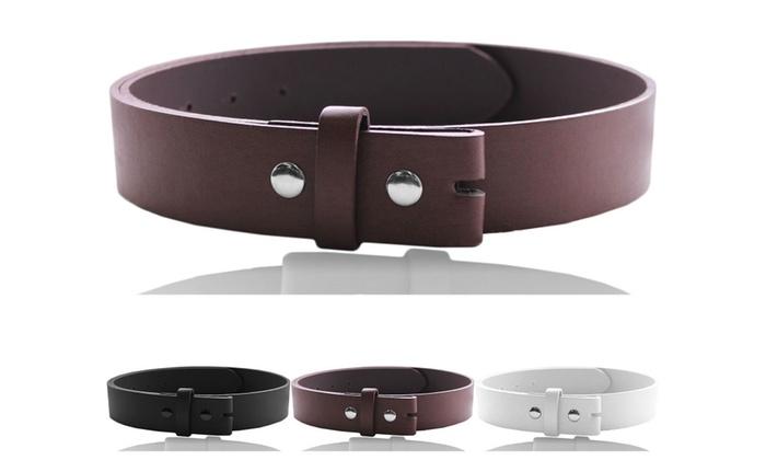 EURO Mens Leather Belt Strap, Snap Button Detachable Dress Belt